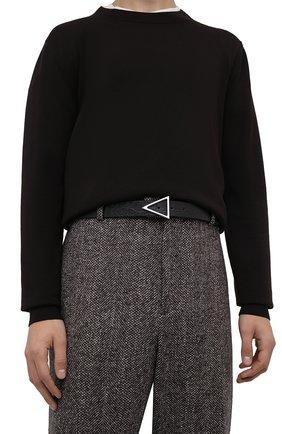 Мужской кожаный ремень BOTTEGA VENETA черного цвета, арт. 657154/VA456 | Фото 2 (Случай: Повседневный)