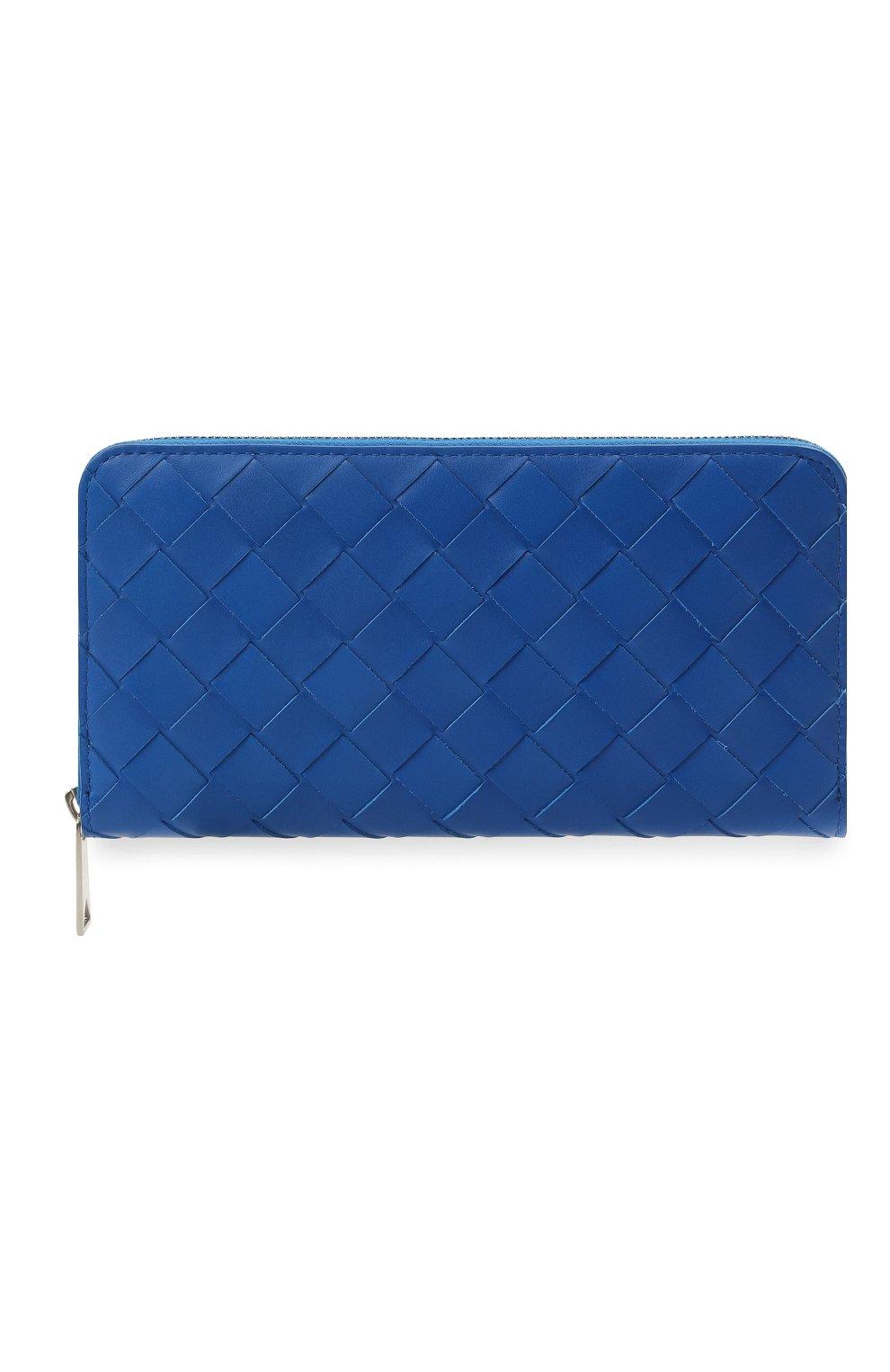 Мужской кожаное портмоне BOTTEGA VENETA синего цвета, арт. 593217/VCPQ4   Фото 1
