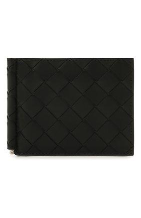 Мужской кожаный зажим для денег BOTTEGA VENETA черного цвета, арт. 592626/VCPQ6 | Фото 1