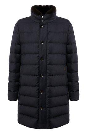 Мужская пуховик из шерсти и кашемира alfieri-fur-l MOORER темно-синего цвета, арт. ALFIERI-FUR-L/M0UGI100104-TEPA217 | Фото 1 (Материал подклада: Синтетический материал; Материал внешний: Шерсть; Кросс-КТ: Куртка; Стили: Классический; Рукава: Длинные; Длина (верхняя одежда): До колена; Мужское Кросс-КТ: пуховик-длинный; Материал утеплителя: Пух и перо)