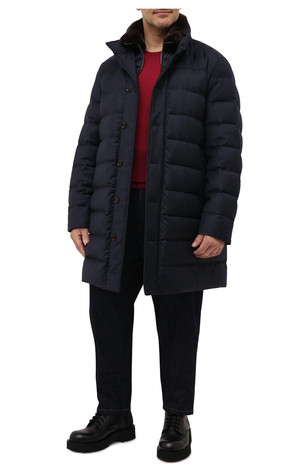Мужская пуховик из шерсти и кашемира alfieri-fur-l MOORER темно-синего цвета, арт. ALFIERI-FUR-L/M0UGI100104-TEPA217 | Фото 2 (Кросс-КТ: Куртка; Мужское Кросс-КТ: пуховик-длинный; Материал внешний: Шерсть; Рукава: Длинные; Длина (верхняя одежда): До колена; Стили: Классический; Материал подклада: Синтетический материал; Материал утеплителя: Пух и перо)