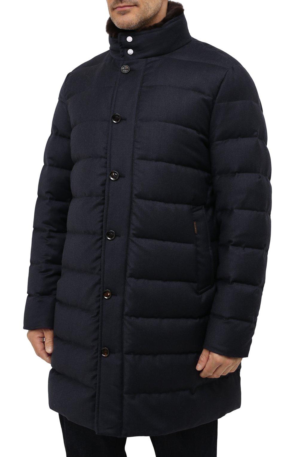 Мужская пуховик из шерсти и кашемира alfieri-fur-l MOORER темно-синего цвета, арт. ALFIERI-FUR-L/M0UGI100104-TEPA217 | Фото 3 (Кросс-КТ: Куртка; Мужское Кросс-КТ: пуховик-длинный; Материал внешний: Шерсть; Рукава: Длинные; Длина (верхняя одежда): До колена; Стили: Классический; Материал подклада: Синтетический материал; Материал утеплителя: Пух и перо)