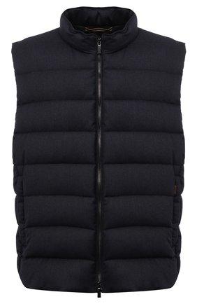 Мужской пуховый жилет oliver-l MOORER темно-синего цвета, арт. 0LIVER-L/M0UGL100050-TEPA217/60-68 | Фото 1 (Материал внешний: Шерсть; Материал подклада: Синтетический материал; Кросс-КТ: Куртка, Пуховик; Стили: Кэжуэл; Big sizes: Big Sizes; Длина (верхняя одежда): Короткие)