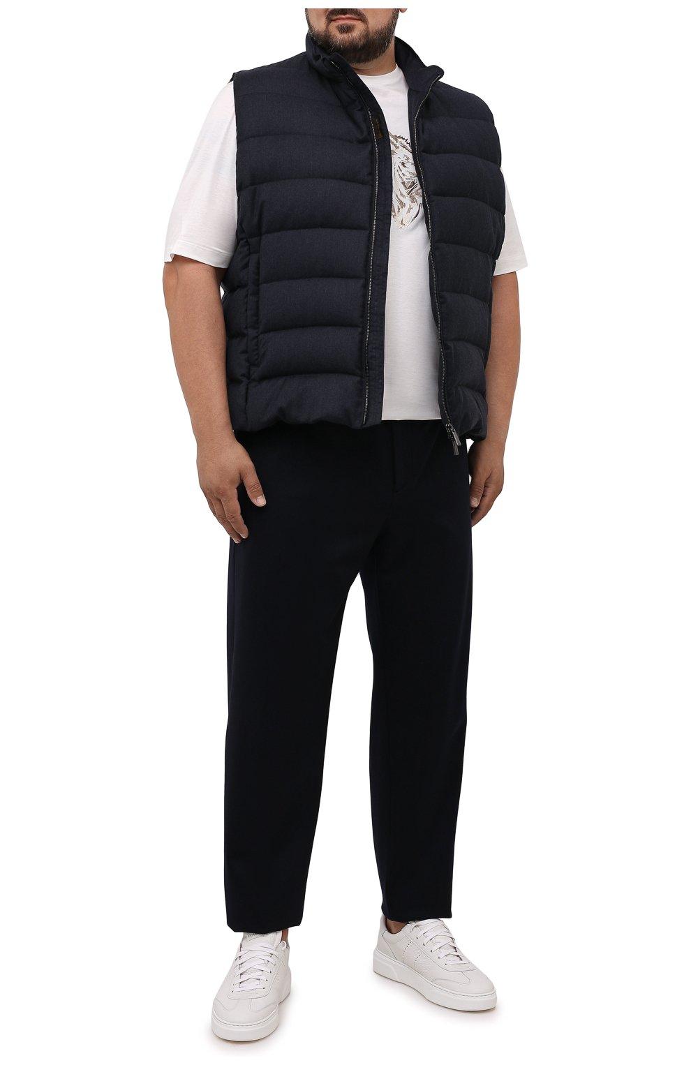 Мужской пуховый жилет oliver-l MOORER темно-синего цвета, арт. 0LIVER-L/M0UGL100050-TEPA217/60-68 | Фото 2 (Кросс-КТ: Куртка, Пуховик; Big sizes: Big Sizes; Материал внешний: Шерсть; Материал подклада: Синтетический материал; Длина (верхняя одежда): Короткие; Материал утеплителя: Пух и перо; Стили: Кэжуэл)