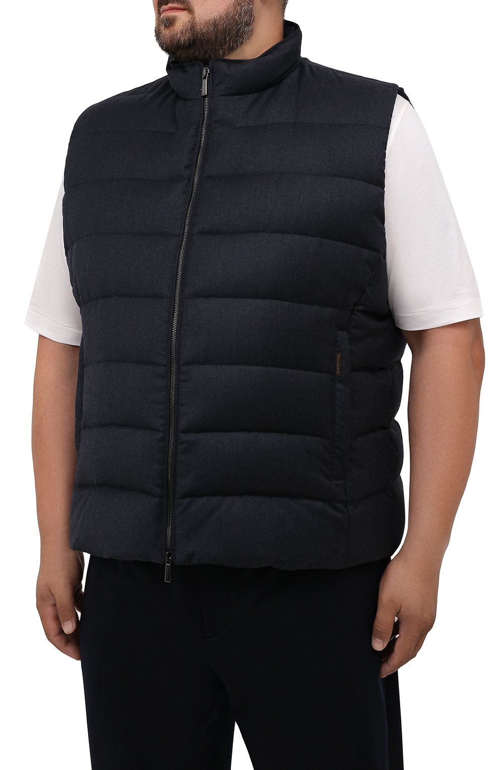 Мужской пуховый жилет oliver-l MOORER темно-синего цвета, арт. 0LIVER-L/M0UGL100050-TEPA217/60-68 | Фото 3 (Кросс-КТ: Куртка, Пуховик; Big sizes: Big Sizes; Материал внешний: Шерсть; Материал подклада: Синтетический материал; Длина (верхняя одежда): Короткие; Материал утеплителя: Пух и перо; Стили: Кэжуэл)