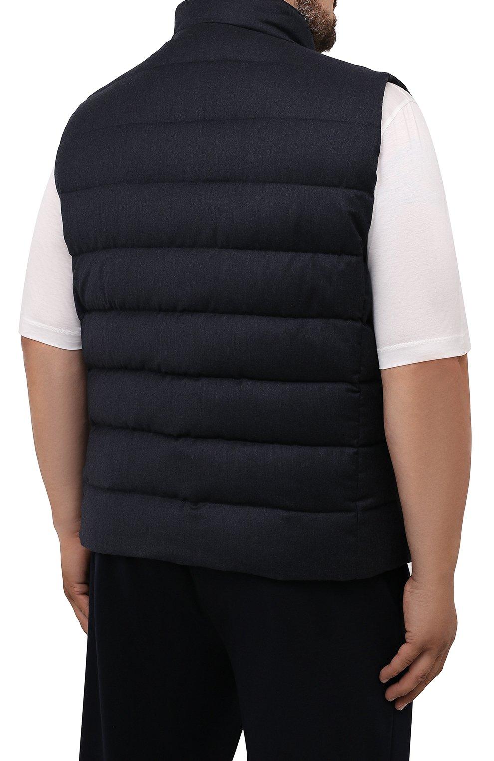 Мужской пуховый жилет oliver-l MOORER темно-синего цвета, арт. 0LIVER-L/M0UGL100050-TEPA217/60-68 | Фото 4 (Кросс-КТ: Куртка, Пуховик; Big sizes: Big Sizes; Материал внешний: Шерсть; Материал подклада: Синтетический материал; Длина (верхняя одежда): Короткие; Материал утеплителя: Пух и перо; Стили: Кэжуэл)