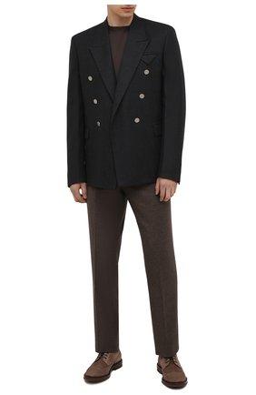 Мужские замшевые дерби BRUNELLO CUCINELLI бежевого цвета, арт. MZUNETX811 | Фото 2 (Материал внутренний: Натуральная кожа; Стили: Классический; Мужское Кросс-КТ: Броги-обувь)