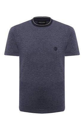 Мужская футболка из хлопка и кашемира GIORGIO ARMANI темно-синего цвета, арт. 6KSM63/SJVJZ | Фото 1