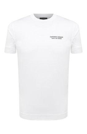 Мужская футболка EMPORIO ARMANI белого цвета, арт. 6K1T70/1JUVZ | Фото 1 (Материал внешний: Хлопок, Лиоцелл; Стили: Кэжуэл; Рукава: Короткие; Длина (для топов): Стандартные)
