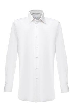 Мужская хлопковая сорочка BRIONI белого цвета, арт. RCB40L/P7003 | Фото 1 (Материал внешний: Хлопок; Длина (для топов): Стандартные; Рукава: Длинные; Случай: Формальный; Рубашки М: Regular Fit; Стили: Классический; Воротник: Кент)
