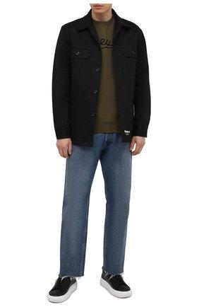 Мужские кожаные кеды greca VERSACE черного цвета, арт. DSU8404/1A00816 | Фото 2