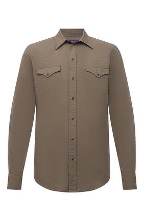 Мужская хлопковая рубашка RALPH LAUREN бежевого цвета, арт. 790844842 | Фото 1 (Рукава: Длинные; Длина (для топов): Стандартные; Материал внешний: Хлопок; Случай: Повседневный; Принт: Однотонные; Манжеты: На кнопках; Стили: Кэжуэл; Воротник: Кент)