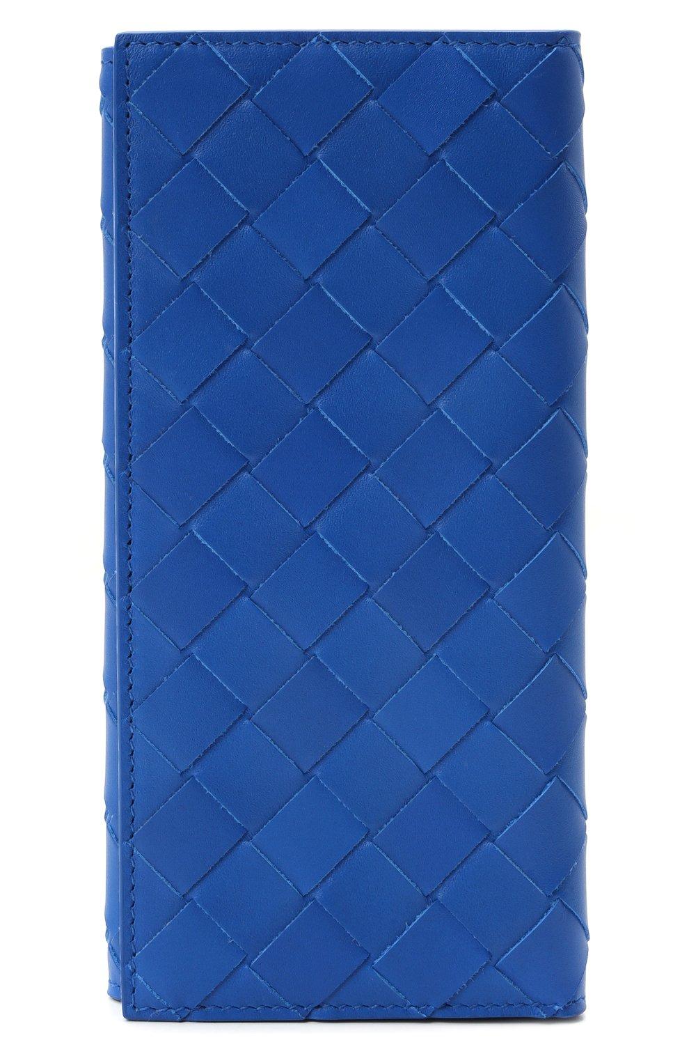 Мужской кожаное портмоне BOTTEGA VENETA синего цвета, арт. 635567/VCPQ4 | Фото 1