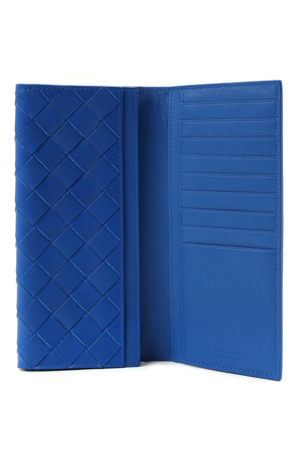 Мужской кожаное портмоне BOTTEGA VENETA синего цвета, арт. 635567/VCPQ4 | Фото 3