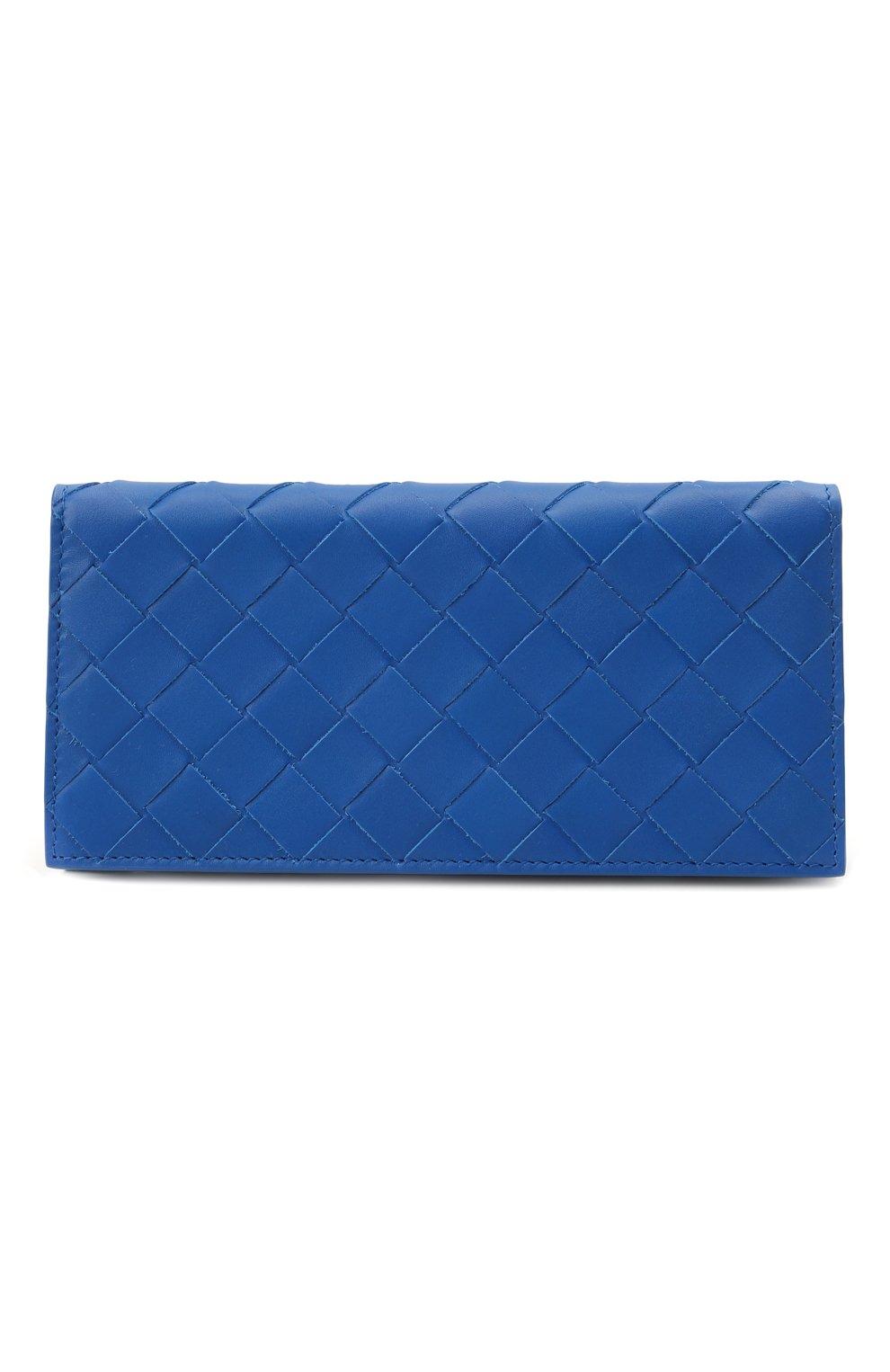 Мужской кожаное портмоне BOTTEGA VENETA синего цвета, арт. 635567/VCPQ4 | Фото 4
