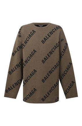 Мужской свитер из хлопка и шерсти BALENCIAGA хаки цвета, арт. 657401/T3200 | Фото 1 (Материал внешний: Хлопок; Рукава: Длинные)