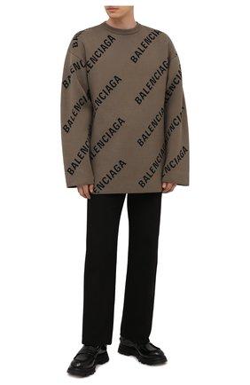 Мужской свитер из хлопка и шерсти BALENCIAGA хаки цвета, арт. 657401/T3200 | Фото 2 (Материал внешний: Хлопок; Рукава: Длинные)