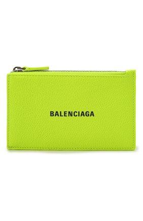Мужской кожаный футляр для кредитных карт BALENCIAGA светло-зеленого цвета, арт. 640535/2UQ13 | Фото 1