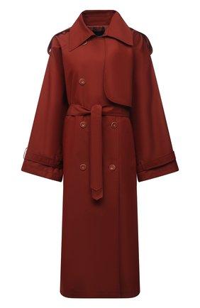 Женский двубортный тренч LESYANEBO  цвета, арт. SS21/Н-465 | Фото 1 (Рукава: Длинные; Материал внешний: Синтетический материал, Хлопок; Длина (верхняя одежда): Длинные; Стили: Романтичный)