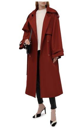 Женский двубортный тренч LESYANEBO  цвета, арт. SS21/Н-465 | Фото 2 (Рукава: Длинные; Материал внешний: Синтетический материал, Хлопок; Длина (верхняя одежда): Длинные; Стили: Романтичный)