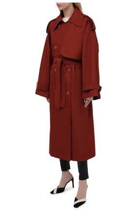Женский двубортный тренч LESYANEBO  цвета, арт. SS21/Н-465   Фото 3 (Рукава: Длинные; Материал внешний: Синтетический материал, Хлопок; Длина (верхняя одежда): Длинные; Стили: Романтичный)