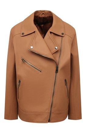 Женская кожаная куртка MASLOV персикового цвета, арт. SMW101 | Фото 1
