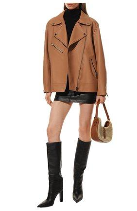 Женская кожаная куртка MASLOV персикового цвета, арт. SMW101 | Фото 2