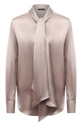 Женская шелковая блузка KITON бежевого цвета, арт. D38455K03337 | Фото 1 (Материал внешний: Шелк; Рукава: Длинные; Стили: Романтичный; Принт: Без принта; Женское Кросс-КТ: Блуза-одежда)