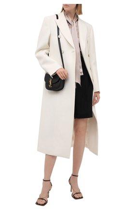 Женская шелковая блузка KITON бежевого цвета, арт. D38455K03337 | Фото 2 (Материал внешний: Шелк; Рукава: Длинные; Стили: Романтичный; Принт: Без принта; Женское Кросс-КТ: Блуза-одежда)