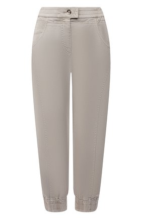 Женские хлопковые брюки GIORGIO ARMANI светло-бежевого цвета, арт. 1WHPP0IP/T02X5   Фото 1