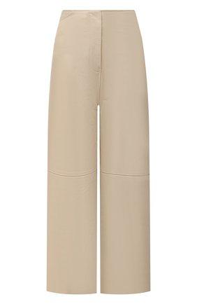 Женские кожаные брюки TOTÊME кремвого цвета, арт. 213-250-600 | Фото 1