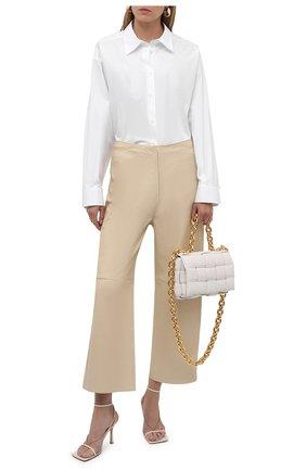 Женские кожаные брюки TOTÊME кремвого цвета, арт. 213-250-600 | Фото 2