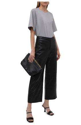 Женские кожаные брюки TOTÊME черного цвета, арт. 213-250-600 | Фото 2