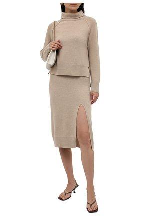 Женский шерстяной пуловер LORENA ANTONIAZZI бежевого цвета, арт. A21114DM027/1906 | Фото 2