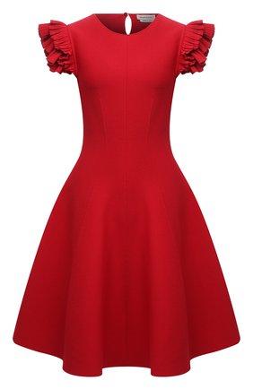 Женское платье из вискозы ALEXANDER MCQUEEN красного цвета, арт. 667827/Q1AVM   Фото 1 (Материал внешний: Синтетический материал, Вискоза; Случай: Формальный; Кросс-КТ: Трикотаж; Женское Кросс-КТ: Платье-одежда, платье-футляр; Длина Ж (юбки, платья, шорты): До колена; Рукава: Короткие; Стили: Гламурный)