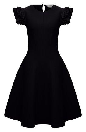 Женское платье из вискозы ALEXANDER MCQUEEN черного цвета, арт. 667827/Q1AVM   Фото 1 (Материал внешний: Синтетический материал, Вискоза; Случай: Формальный; Женское Кросс-КТ: Платье-одежда, платье-футляр; Кросс-КТ: Трикотаж; Длина Ж (юбки, платья, шорты): До колена; Рукава: Короткие; Стили: Гламурный)