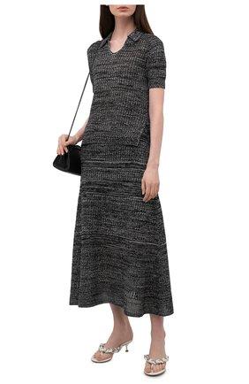 Женская юбка из шелка и хлопка PROENZA SCHOULER WHITE LABEL черно-белого цвета, арт. WL2137643-KS057 | Фото 2