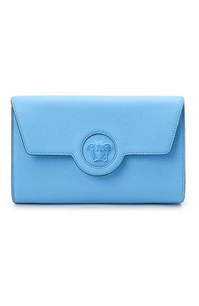 Женские кожаный кошелек на цепочке la medusa VERSACE голубого цвета, арт. 1000814/DVIT2T | Фото 1