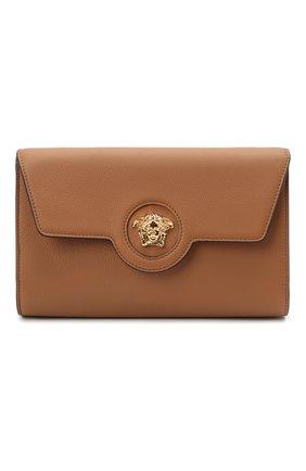 Женские кожаный кошелек на цепочке la medusa VERSACE светло-коричневого цвета, арт. 1000814/DVIT2T | Фото 1