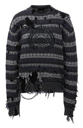 Женский шерстяной свитер BALENCIAGA серого цвета, арт. 663872/T1609 | Фото 1 (Рукава: Длинные; Длина (для топов): Стандартные; Материал внешний: Шерсть; Стили: Спорт-шик; Женское Кросс-КТ: Свитер-одежда)