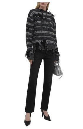 Женский шерстяной свитер BALENCIAGA серого цвета, арт. 663872/T1609 | Фото 2 (Рукава: Длинные; Длина (для топов): Стандартные; Материал внешний: Шерсть; Стили: Спорт-шик; Женское Кросс-КТ: Свитер-одежда)