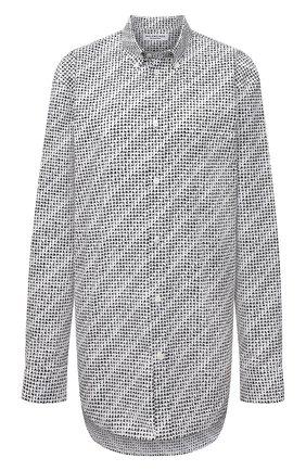 Женская хлопковая рубашка BALENCIAGA черно-белого цвета, арт. 658956/TKL40   Фото 1 (Материал внешний: Хлопок; Женское Кросс-КТ: Рубашка-одежда; Стили: Спорт-шик; Рукава: Длинные; Длина (для топов): Удлиненные; Принт: С принтом)
