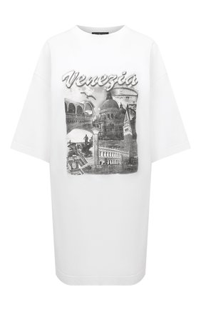 Женская хлопковая футболка BALENCIAGA белого цвета, арт. 651795/TKV88 | Фото 1