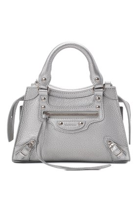 Женская сумка neo classic city mini BALENCIAGA серебряного цвета, арт. 638524/15YKY | Фото 1 (Материал: Натуральная кожа; Сумки-технические: Сумки top-handle; Ремень/цепочка: На ремешке; Размер: mini)