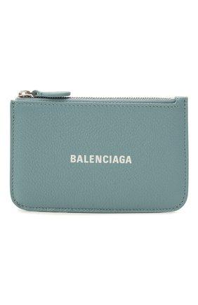 Женский кожаный футляр для кредитных карт BALENCIAGA мятного цвета, арт. 637130/1IZI3 | Фото 1