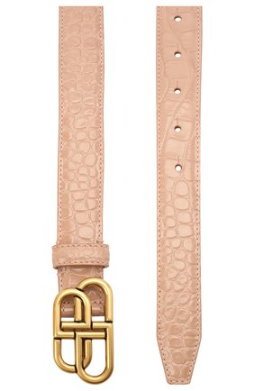 Женский кожаный ремень bb BALENCIAGA светло-бежевого цвета, арт. 581690/2UD74 | Фото 2