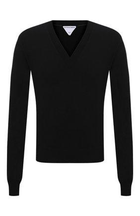 Мужской шерстяной пуловер BOTTEGA VENETA черного цвета, арт. 668702/V0ZY0 | Фото 1 (Материал внешний: Шерсть; Рукава: Длинные; Длина (для топов): Стандартные; Принт: Без принта; Стили: Минимализм; Мужское Кросс-КТ: Джемперы, Пуловеры; Вырез: V-образный)