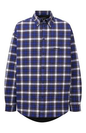 Мужская куртка-рубашка BALENCIAGA синего цвета, арт. 642339/TKM27 | Фото 1 (Материал внешний: Хлопок; Материал подклада: Купро; Рукава: Длинные; Кросс-КТ: Ветровка, Куртка; Длина (верхняя одежда): До середины бедра; Стили: Гранж)