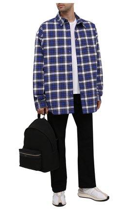 Мужская куртка-рубашка BALENCIAGA синего цвета, арт. 642339/TKM27 | Фото 2 (Материал внешний: Хлопок; Материал подклада: Купро; Рукава: Длинные; Кросс-КТ: Ветровка, Куртка; Длина (верхняя одежда): До середины бедра; Стили: Гранж)