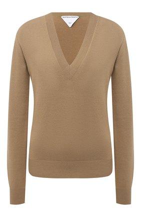 Женский шерстяной пуловер BOTTEGA VENETA бежевого цвета, арт. 668585/V0ZY0 | Фото 1